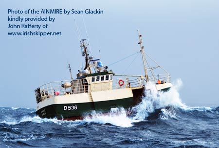 Sean Glackin`s photo of the AINMIRE in her crabbing haunts, kindly supplied by www.irishskipper.net